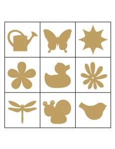 """Набор декоративных элементов из дерева """"Цветы, птички, насекомые"""", 45 шт, 22 мм, Knorr prandell"""