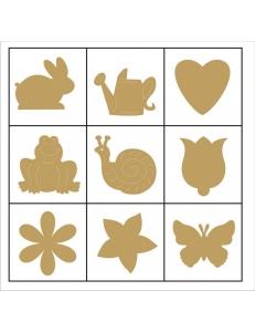 """Набор декоративных элементов из дерева """"Цветы и животные"""", 45 шт, 22 мм, Knorr prandell"""