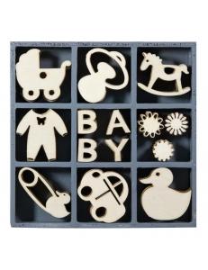 "Набор декоративных элементов из дерева ""Бэби"", 45 шт, 22 мм, Knorr prandell"