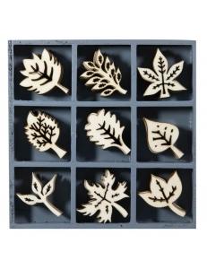 """Набор декоративных элементов из дерева """"Листья"""", 45 шт, 22 мм, Knorr prandell"""