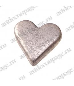 "Кнопки для скрапбукинга ""Сердце"", старое серебро, 8 мм, 25 шт., Knorr prandell (Германия)"