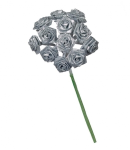 """Букет искусственных цветов """"Розочки серебристые"""", 1,5 см, 12 бутонов, Knorr Prandell (Германия)"""