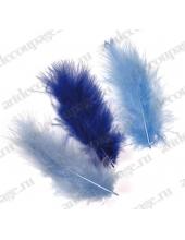 "Декоративные перья марабу ""Синий микс"", 9 см, 15 шт., Knorr prandell (Германия)"