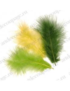 """Декоративные перья марабу """"Желто-зеленый микс"""", 9 см, 15 шт., Knorr prandell (Германия)"""