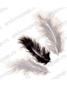 """Декоративные перья марабу """"Черный и белый"""", 9 см, 15 шт., Knorr prandell (Германия)"""