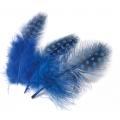 Перья цесарки синие, натуральное перо, 5 см, 20 шт., Knorr Prandell (Германия)