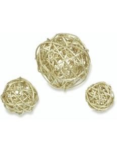 Заготовка шары плетеные, натуральная лоза, цвет золото, 3 шт, Knorr Prandell (Германия)