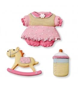 "Декоративные элементы ""Baby girl"", полимерная смола, 3 - 3,5 см, 3 шт, Knorr prandell"