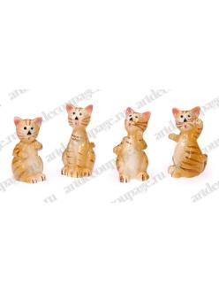 Декоративные фигурки Кошки 2, клеевое крепление, полимерная смола, 2,5 см, 4 шт, Knorr prandell