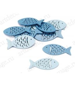 """Декоративные элементы """"Рыбки синие и голубые"""", дерево, 5 см, 12 шт, Knorr prandell (Германия)"""