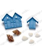 """Декоративные элементы """"Морские домики и раковины"""",  клеевое крепление, полимерная смола, 1 - 5 см, 8 шт, Knorr prandell"""
