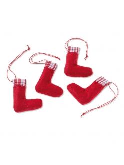 Декоративные элементы Рождественский носок, ткань, 6 см, 4 шт., Knorr prandell