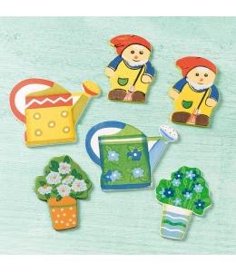 """Декоративные плоские фигурки """"Гномы в саду"""" 6 шт, дерево, Knorr prandell (Германия)"""
