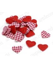 """Декоративные элементы """"Сердечки красно-белые"""" клеевые, ткань, 2 см, 48 шт., Knorr prandell"""