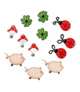 "Декоративные элементы ""Свинки, грибы, божьи коровки"", металл, 2 см, 12 шт, Knorr prandell"