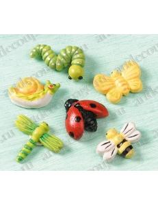 """Декоративные фигурки """"Летние насекомые"""" с клеевым креплением, полимерная смола, 2 см, 6 шт, Knorr prandell"""