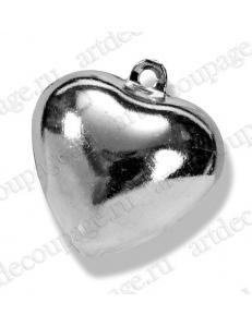 "Колокольчики декоративные ""Сердце"", серебристый металл, 15 мм, 5 шт., Knorr prandell"