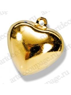 Колокольчики декоративные Сердце, золотистый металл, 15 мм, 5 шт., Knorr prandell