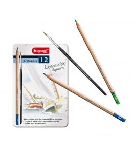 Набор акварельных карандашей + кисть, Bruynzeel Expression Aquarel 12 цветов