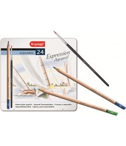 Набор акварельных карандашей Expression Aquarel 24 цвета + кисть в металлической упаковке