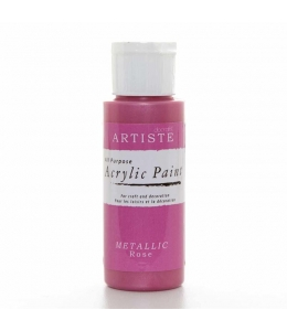 """Краска акриловая металлик Artiste 763107 """"Розовый"""", 59 мл, Docrafts (Великобритания)"""