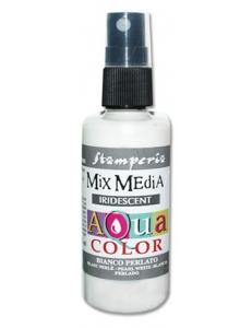 """Краска - спрей """"Aquacolor Spray """" с переливчатым эффектом для техники """"Mix Media"""" белый, 60 мл, Stamperia"""