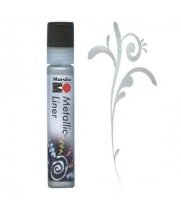 Контур металлик Marabu-Liner Metallic 782, цвет серебро, 25 мл, Германия