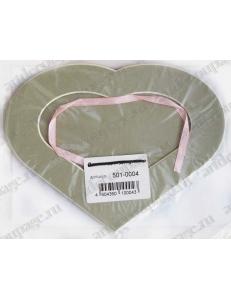 Декоративное паспарту, форма сердце, цвет темно-бежевый, 19,5-14,5 см
