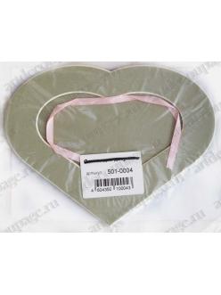 Декоративное паспарту, форма сердце, цвет бежево-серый, 19,5-14,5 см
