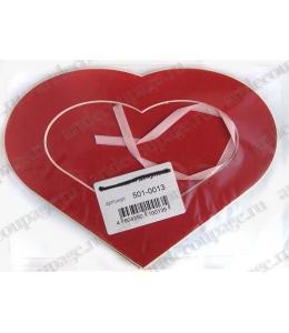 Декоративное паспарту, форма сердце, цвет красный, 19,5-14,5 см