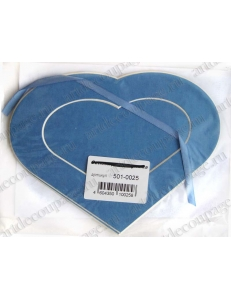 Декоративное паспарту, форма сердце, цвет синий, 19,5-14,5 см