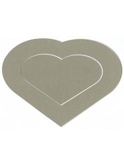Декоративная рамка паспарту в форме сердце, цвет темно-бежевый, 19,5-14,5 см