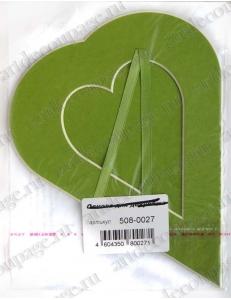 Декоративное паспарту, форма сердце вертикальное, цвет салатовый, 19,5-14,5 см