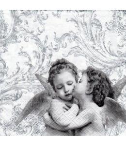 "Салфетка для декупажа ""Ангелы на серебрянном"", 33х33 см, Paw (Польша)"