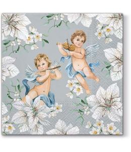 """Салфетка для декупажа """"Ангелы в цветах на серебрянном"""", 33х33 см, Paw (Польша)"""