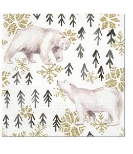 "Салфетка для декупажа ""Белые медведи"", 33х33 см, Paw (Польша)"