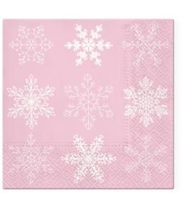 """Салфетка для декупажа """"Снежинки на розовом"""", 33х33 см, Paw (Польша)"""