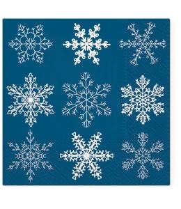 "Салфетка для декупажа ""Снежинки на синем"", 33х33 см, Paw (Польша)"