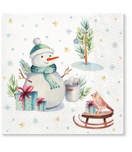 """Салфетка для декупажа """"Прекрасный снеговик"""", 33х33 см, Paw (Польша)"""