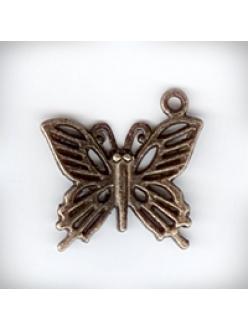 """Подвеска металлическая """"Бабочка"""", 19x21x1 мм, цвет античная бронза"""