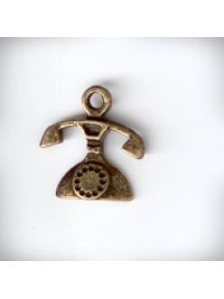 """Подвеска металлическая """"Античный телефон"""", 15x16x3 мм, цвет античная бронза"""