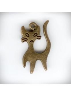 """Подвеска металлическая """"Кошка с усами"""", 14x22x1 мм, цвет античная бронза"""