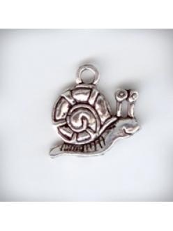 """Подвеска металлическая """"Веселая улитка"""", 16x16x1 мм, цвет античное серебро"""