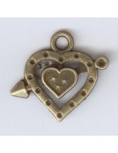 """Подвеска металлическая """"Сердце со стрелой"""", размер 25x22x3 мм, цвет античная бронза"""
