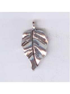 """Подвеска металлическая """"Лист"""" , размер 16x28x4 мм, цвет античное серебро"""