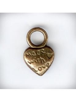 """Подвеска металлическая """"Сердце Made with love"""", размер 14x9x3 мм, цвет античная бронза"""