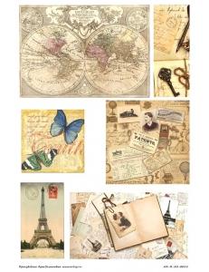 "Рисовая бумага R-A3-0015 ""Карта, путешествия"", формат А3, ProArt (Россия)"