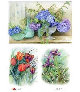 """Рисовая бумага R-A3-0048 """"Весенние цветы"""", формат А3, ProArt (Россия)"""