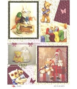 """Рисовая бумага R-A3-0071 """"Детские игрушки, плюшевые мишки"""", формат А3, ProArt (Россия)"""