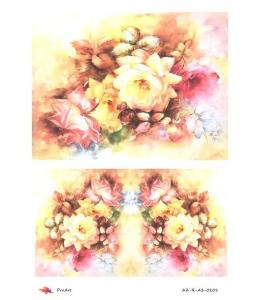 """Рисовая бумага R-A3-0101 """"Красные и желтые розы"""", формат А3, ProArt (Россия)"""